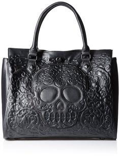Loungefly Lattice Skull Tote Shoulder Bag, Black, One Size: Handbags: Amazon.com