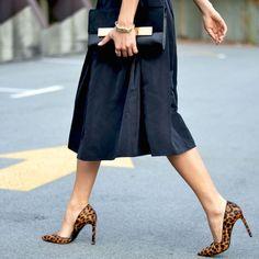 Leopard heels make a simple full skirt pop.