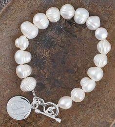 Sterling Silver Toggle Pearl Bracelet