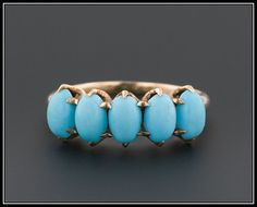 Antique 10k Gold Persian Turquoise Glass Ring $295.00