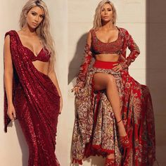 March, 2018) Kim Kardashian West sizzles in a RED shiny saree and embroidered red lehenga. #kimkardashian recently shot for the cover of Vogue India magazine's Indian edition. She looks stunning in a blingy red saree and lehenga. Nude make-up and platinum blonde colored hair complete the look. #indianfashion #saree #redsaree #sexy #choli #lehenga #vogueindia via @sunjayjk