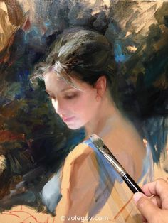 Vladimir Volegov - it may not be finished but it is already beautiful. Love the delicate (soft) painting of the woman against the dark and rough background Painting People, Figure Painting, Vladimir Volegov, Rennaissance Art, Ecole Art, Classic Paintings, Portraits From Photos, Traditional Paintings, Beauty Art