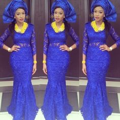 Blue and yellow jewelry necklace Nigerian wedding inspiration for Nigerian brides. gele. aso ebi. lace. African fabric. dresses. Jude Okoye & Ify Umeokeke Traditional Wedding - July 2014 - BellaNaija.com 0101