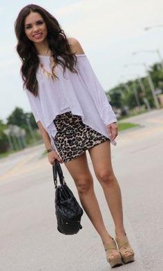 white shirt, tight skirt