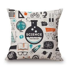 Furniture - TomTop New Fashion Diverse Special Mathematical Chemical Formula Elements Linen Printed Throw Pillow Covers Pillowcases Cushion Decorative for Children Playroom Bedroom Living Room Office Car Seat Gift - AdoreWe. Science Room Decor, Science Bedroom, Bedroom Decor For Teen Girls, Bedroom Themes, Teen Bedroom, Throw Pillow Cases, Pillow Covers, Cushion Covers, Cricut