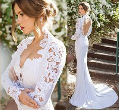 Romantic Modified Queen Anne Neckline Wedding Dresses In Mermaid/Trumpet Sweetheart Backless Bridal Gown Beautifully Framed Lace Keyhole, $145.55 | DHgate.com