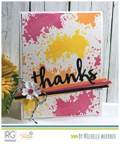 Fusion Vibes - watermelon, lemon, orange. Ink Splat stamp set and Designer Frames die set.