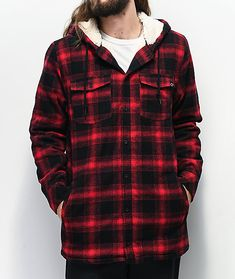 Throw on a timeless winter look with the Cain black and red hooded flannel shirt from Empyre. This plaid flannel shirt features Sherpa lining throughout for a warm, cozy fit, while the drawstring-adjustable hood gives your head some much needed protection Hooded Flannel, Plaid Flannel, Red Plaid, Flannel Shirt, Sherpa Lined, Winter Looks, Large Black, Cold Weather, Hoods