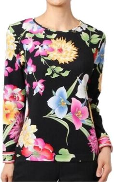 Colorful Floral Print Jersey Silk Top