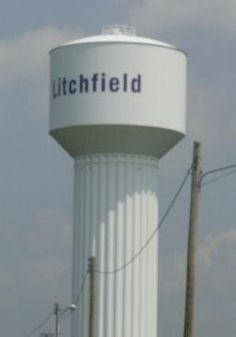 Litchfield, IL - The water tower on the northside of Litchfield.U.S. 66 in Illinois