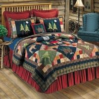 Shop Cozy Line Christmas Night Patchwork Quilt Set - Overstock - 8602769 - Green/Yellow/Blue/Red - Queen/Full - Queen/Full - 3 Piece Rustic Bedding Sets, Moose Lodge, Online Bedding Stores, Twin Quilt, Queen Quilt, Quilt Sets, Cotton Quilts, Decoration, Christmas Night