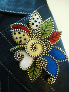 Felt and zipper leaves... by woolly  fabulous, via Flickr