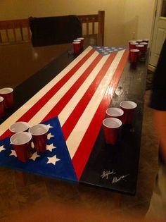 Wooden Plywood American Flag Beer Pong Table With Signatures On Side For Added Character