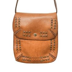Studded Perforated Washed Leather Purse - Italian Leather - Camel #Bag #Leather #Fashion 9thelm.com