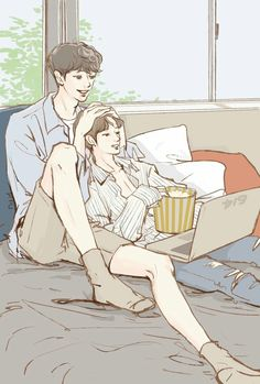 ChanBaek watching movie