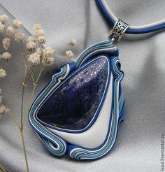 """Купить Кулон из кожи """" Голубая мечта"""" - синий, цветной, белый, украшение, украшение на шею"""