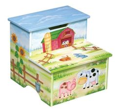 GuideCraft Farmhouse Collection Storage Step - Up GuideCraft Farmhouse Collection Storage Step - Up gives kids a boost up to bed, bathroom sink and more! Fun, country imagery abounds on this Farmhouse Collection Toy Box from Guidecraft. Great for bedsides and other places kids can't quite reach, the Storage Step-Up delivers top-notch design and super-fun decor for children ages 3 and up.