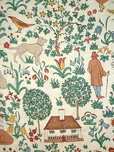 HABITAT VOYSEY THE HOUSE THAT JACK BUILT CURTAIN FABRIC
