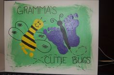 """""""Gramma's Little Cutie Bugs"""" canvas gift made with Nathan & Faith's footprints"""