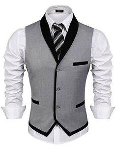 Men's Clothing, Suits & Sport Coats, Men's V-Neck Sleeveless Slim Fit Vest-Jacke. Men's Clothing, Suits & Sport Coats, Men's V-Neck Sleeveless Slim Fit Vest-Jacket Business Suit Dress Vest - Grey - Mens Suit Vest, Mens Suits, Grey Suits, Suit Men, Wedding Vest, Casual Mode, Men's Waistcoat, Designer Suits For Men, Men Dress