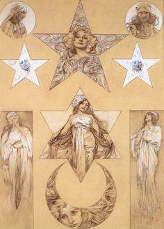 Gorgeous drawings by Alfonse Mucha, of course I love Art Nouveau, and then with the subject of the moon and stars. Art Nouveau Mucha, Alphonse Mucha Art, Jugendstil Design, Art Nouveau Illustration, Inspirational Artwork, Klimt, Art Graphique, Oeuvre D'art, Art Inspo