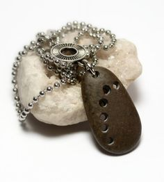 Drilled Beach Stone Jewelry Silver Necklace- Engraved Handcrafted River Rock Pebble Jewellery by Allybeans via Etsy