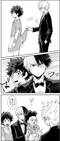 """Todoroki """"don't touch Midoriya""""  And gives Baku Mineta xdd"""