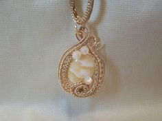 Yellow Calcite Gemstone Gold Copper Wire Wrapped Pendant Hardcrafted Artisan #Handmade #Pendant