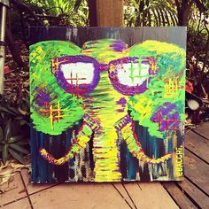 Elephant with Sunglasses Painting. By Erin Bacchi at Deer Pineapple www.deerpineapple.com