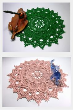 Green crochet doily 12 inches Textured doily Round crochet doily Lace doily Crochet table topper Green home decor Debbie Gift idea For her - pinned by pin4etsy.com
