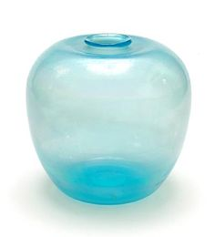 Light-blue glass Serica vase with iridized finish design A.D.Copier 1926 executed by Glasfabriek Leerdam / the Netherlands