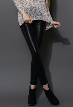 Faux Leather Leggings in Black - New Arrivals - Retro, Indie and Unique Fashion