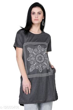 Checkout this latest Tshirts Product Name: *Classy Modern Women Tshirts * Fabric: Cotton Sleeve Length: Short Sleeves Pattern: Printed Multipack: 1 Sizes: XXXL (Bust Size: 42 in, Length Size: 34 in)  Country of Origin: India Easy Returns Available In Case Of Any Issue   Catalog Rating: ★4 (436)  Catalog Name: Urbane Partywear Women Tshirts CatalogID_2297926 C79-SC1021 Code: 062-12050456-285