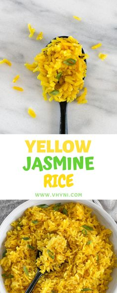 This savory Yellow Jasmine Rice combines warm and fragrant Indian spices and chicken broth to make the most flavorful rice you've ever taste. Delicious Recipes, Great Recipes, Favorite Recipes, Rice Dishes, Main Dishes, Jasmine Rice Recipes, Food Blogs, Dinner Ideas, Plant Based
