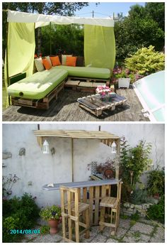 Recycled Pallets in my garden #Bar, #Garden, #Pallets, #Recycled, #Sofa, #Table, #Terrasse