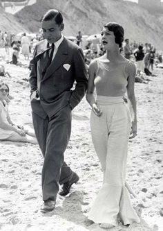 On the beach, c. 1930s- Charles Middleworth and Mary Astranoni .
