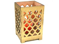 Laser Cut Gold Moroccan Candle Holder, Shadowbox, Clean, Modern, and Regal Design