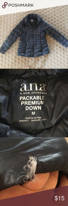 a.n.a. Packable Premium Down Jacket w/hood This color is gorgeous! A deep ink/indigo color with a gorgeous sheen to it. This is a super lightweight and warm jacket. Small hole on the end of the left hand sleeve. Can be stitched or mended if desired so the down feathers don't come out of it. Please refer to last photo for the damage/hole. Zip front closure with 2 zippered pockets. Hood is conveniently rolled and stored within the color when not in use! a.n.a Jackets & Coats Puffers