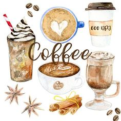 Watercolor Coffee clipart 600 dpi PNG, drink collection clipart, latte, PNG on transparent background for scrapbooking, DIY cards - coffee - Coffee Coffee Facts, Coffee Signs, Latte Art, Coffee Clipart, Different Kinds Of Coffee, Art Tutorial, Coffee Tumblr, Coffee Tattoos, Coffee Drawing