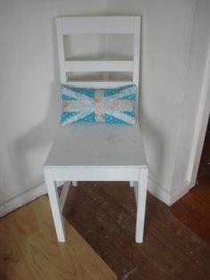 Union Jack inspired Shabby Chic cushion Shabby Chic Cushions, Union Jack, Inspired, Chair, Projects, Diy, Inspiration, Furniture, Home Decor