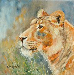 Saarikoski Art Original Oil Painting Africa Lion Lioness Wildlife Safari  #Realism