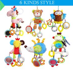 Lower Price with Baby Stroller Pendant Plush Fish Cartoon Mirror Pacifier Hanging Bed Cute Toys Soft Squeaky Rattle Newborn Sleeping Infant Kids Strollers Accessories