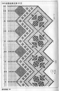 Gallery.ru / Фото #39 - masa - albenaa Filet Crochet Charts, Crochet Borders, Crochet Cross, Crochet Home, Crochet Motif, Crochet Doilies, Crochet Stitches, Crochet Patterns, Hardanger Embroidery