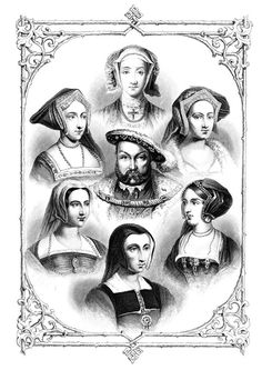 King Henry Viii Of England And His Six Wives From Top Centre And Clockwise Anne Of Cleves Catherine Howard Anne Boleyn Catherine Of Aragon Catherine Parr And Jane Seymour From The National And Domesti History Of England, Tudor History, European History, British History, World History, British Literature, Asian History, Anne Boleyn, Anne Of Cleves