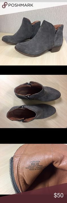 Lucky Brand Shoes Lucky Brand Booties - Size 8  Lucky Brand low booties, size 8, gray suede.  Pre-owned, great condition. Lucky Brand Shoes Ankle Boots & Booties