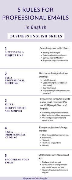 Professional English and Emails in English. Simple steps for impressive emails in English and to make your life easier. Get the full lesson online at https://www.speakconfidentenglish.com/7-rules-for-emails/?utm_campaign=coschedule&utm_source=pinterest&utm_medium=Speak%20Confident%20English%20%7C%20English%20Fluency%20Trainer&utm_content=7%20Rules%20for%20Professional%20Emails%20in%20English%20-%20Business%20English%20Skills…