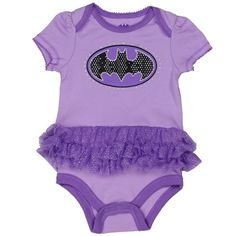 DC Comics Batgirl Purple Baby Onesie With Purple Tutu With Black Bat Signal Outlined In Silver Glitter         Sizes 0/3 Months 3/6 Months 6/9 Months     Made From 60% Cotton 40% Polyester     Label DC Comics Batgirl     Officially Licensed DC Comics Batgirl Baby Clothes Free Shipping #BatGirl