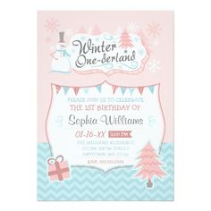 Winter Onederland Snowman Girl 1st Birthday Announcement