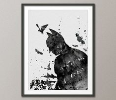 Batman Watercolor Painting Print  8x10 Archival Fine Art Print Children's Wall Art - Super Hero Wall Decor Art Home Decor Wall Hanging No 6 on Etsy, $25.00