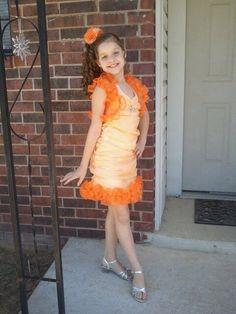 National Pageant Wear Barbie Dress Girls 6 7 8 Custom Made OOC Orange LN Lot | eBay